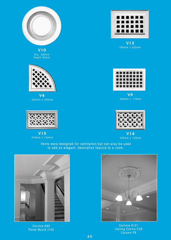 Page 2 - Plaster Vents - Ornamental interior plaster vents. Ceiling Panels is Brisbane's leading supplier of decorative plaster and ornamental plaster vents.