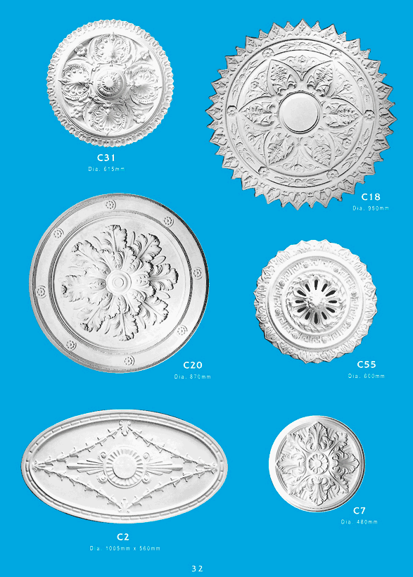 Page 9 - Ceiling Centres - Ornamental interior plaster ceiling centres. Ceiling Panels is Brisbane's leading supplier of decorative plaster and ornamental plaster ceiling centers.
