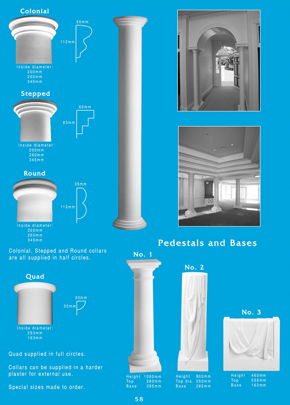 Page 1 - Column Collars - Ornamental column collars in a large range of sizes and designs. Custom designed ornamental column collars. Colonial column collars. Ceiling Panels is Brisbane's leading supplier of decorative plaster and ornamental plaster column collars.
