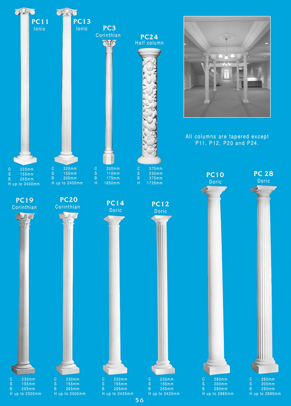 Page 1 - Columns - Use decorative plaster columns to decorate and highlight arches, fireplaces or give your home a new breath of elegance and grandeur. Ceiling Panel's is Brisbane's largest supplier or ornamental plaster and decorative plaster columns for new constructions and renovations. Ornamental plaster is versatile, long lasting and lightweight.