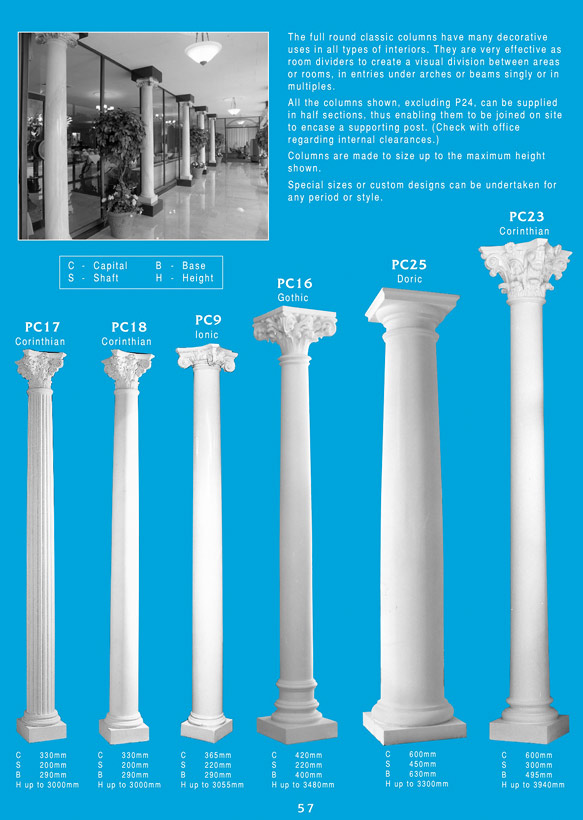 Page 2 - Columns - Use decorative plaster columns to decorate and highlight arches, fireplaces or give your home a new breath of elegance and grandeur. Ceiling Panel's is Brisbane's largest supplier or ornamental plaster and decorative plaster columns for new constructions and renovations. Ornamental plaster is versatile, long lasting and lightweight.