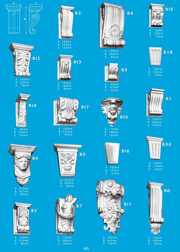 Page 1 - Corbels - Ceiling Panels is Brisbane's largest supplier of ornamentals and corbels. Corbel Mouldings are a great finishing touch to any surface in any house, and with Ceiling Panel's wide range of exciting shapes, there's endless possibilities.