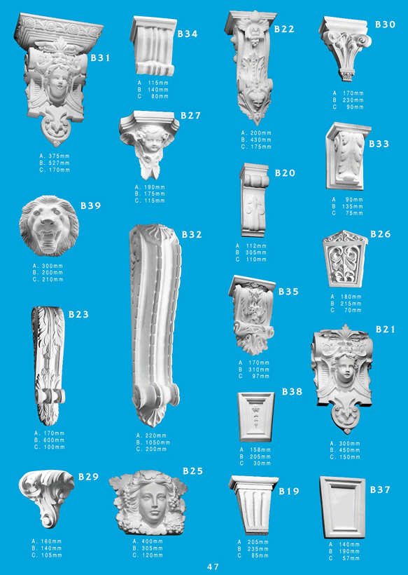 Page 2 - Corbels - Ceiling Panels is Brisbane's largest supplier of ornamentals and corbels. Corbel Mouldings are a great finishing touch to any surface in any house, and with Ceiling Panel's wide range of exciting shapes, there's endless possibilities.