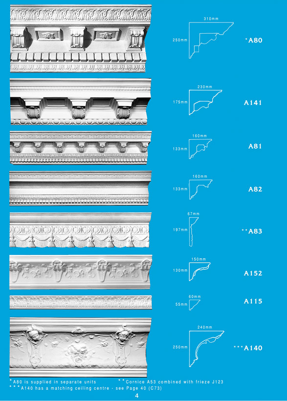 Page 4 - Cornice - Ceiling Panels is Brisbane's largest supplier of plaster ornamental cornice, colonial cornices, art deco cornices, victorian style cornices, federation style cornices, georgian cornices, and neo gothic cornices.