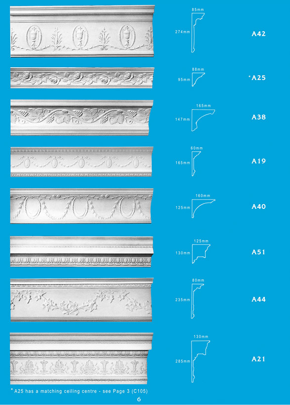 Page 6 - Cornice - Ceiling Panels is Brisbane's largest supplier of plaster ornamental cornice, colonial cornices, art deco cornices, victorian style cornices, federation style cornices, georgian cornices, and neo gothic cornices.