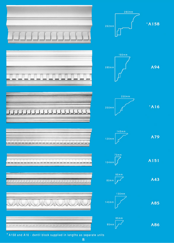 Page 8 - Cornice - Ceiling Panels is Brisbane's largest supplier of plaster ornamental cornice, colonial cornices, art deco cornices, victorian style cornices, federation style cornices, georgian cornices, and neo gothic cornices.
