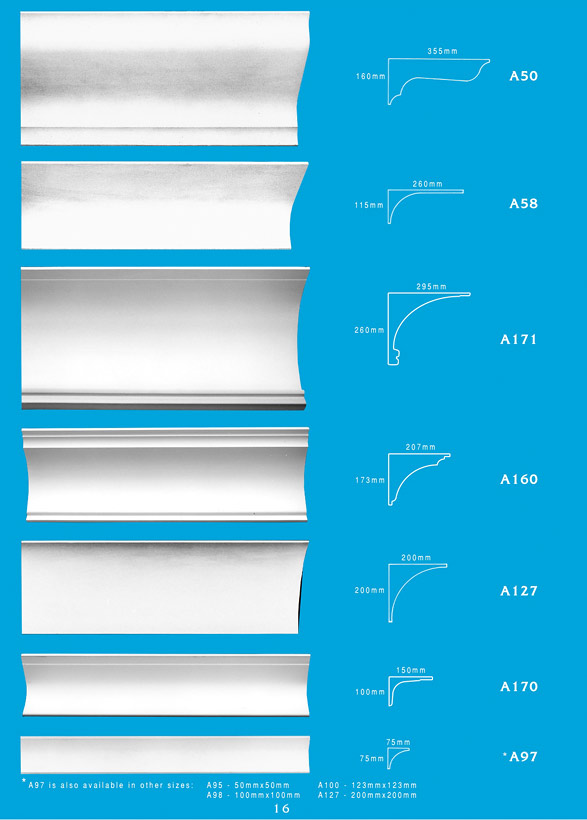 Page 16 - Cornice - Ceiling Panels is Brisbane's largest supplier of plaster ornamental cornice, colonial cornices, art deco cornices, victorian style cornices, federation style cornices, georgian cornices, and neo gothic cornices.