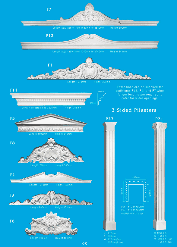 Page 2 - Pediments - Ceiling Panels is Brisbane's largest supplier of plaster pediments and Queensland's Decorative Plaster Products Specialist. We specialise in ornamental and decorative plaster pediments, gables, and pilasters. Pilasters are very functional and add character when used as borders for square openings, margining doors, or as features in arched openings. They are also complemented when used with pediments, some being adjustable to suit your requirements.