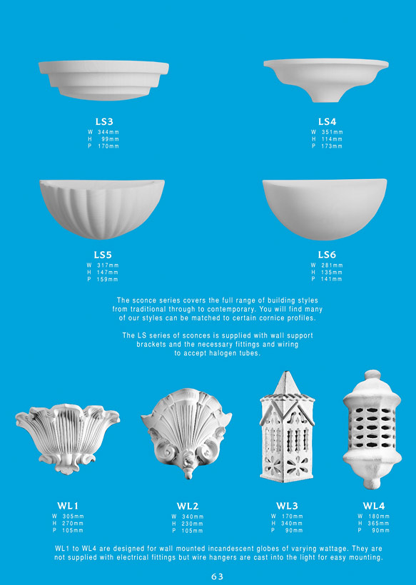 Page 2 - Plaster Wall Sconces - Ceiling Panels is Brisbane's Decorative Plaster Products Specialist. We specialise in ornamental and decorative plaster wall sconces. A sconce is a type of light fixture that is often used in hallways or corridors to provide both lighting and a point of interest. Sconces are often addixed to the wall in a way that it uses only the wall for support and the light is directed upwards.